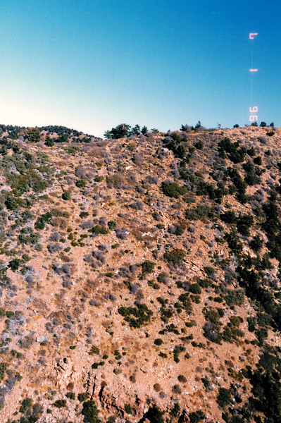 The main impact point (Bottom of photo) and wreckage was still visible during a low pass in 1996.