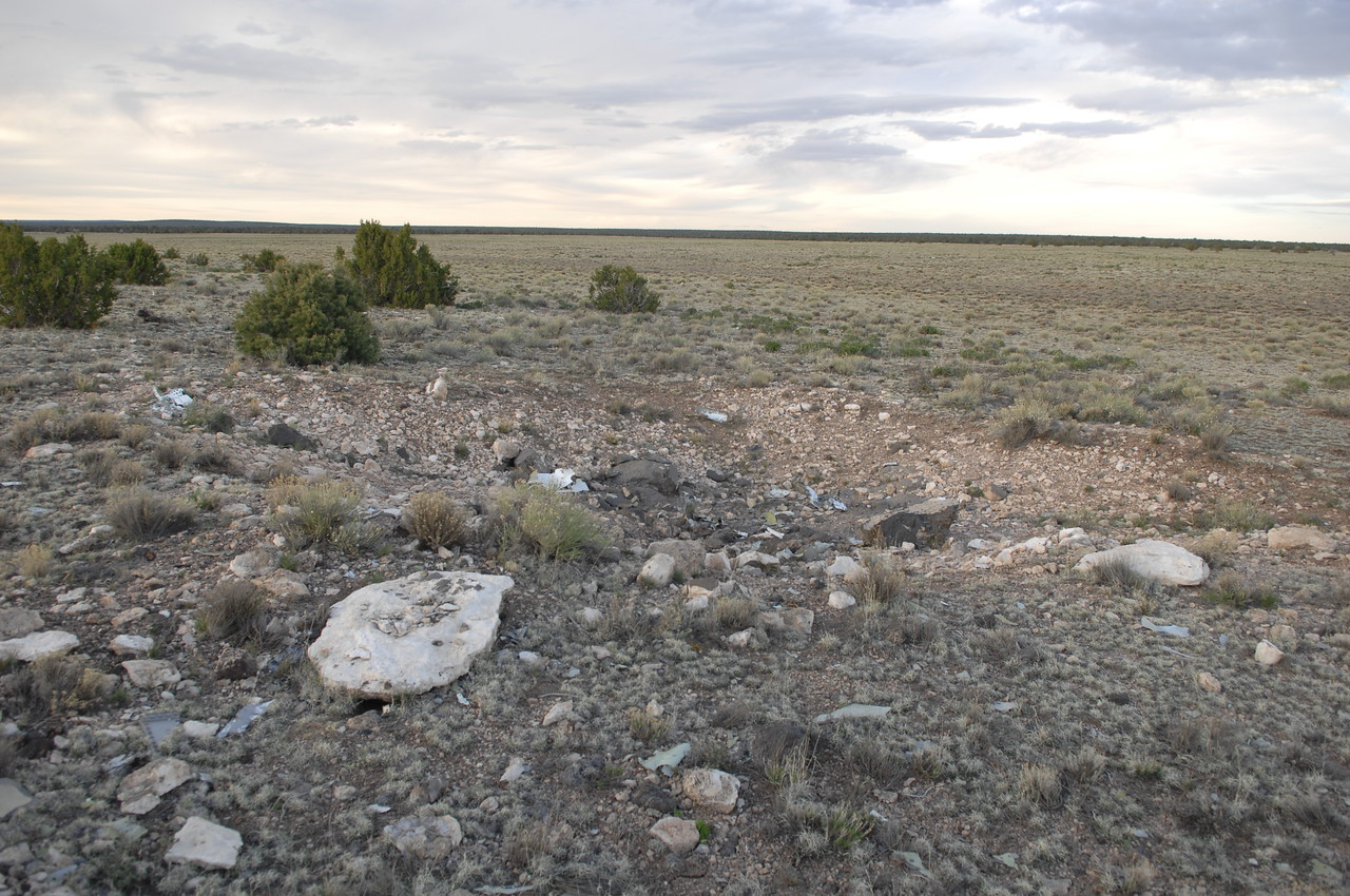 The impact crater looking east. It had been a long time since Ive seen an aircraft destroyed this badly. The best part of course being that no lives were lost in this accident. (2008 LostFlights)