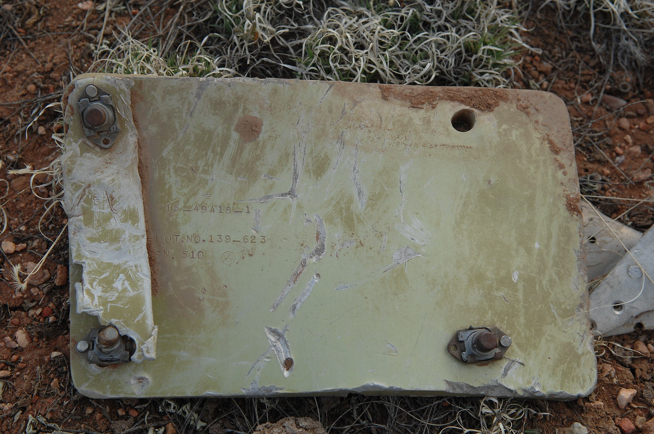 """This panel not only contained a part number that verified the aircraft model but also the serial number of the aircraft as """"510"""". (2008 LostFlights)"""