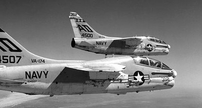 A pair of U.S. Navy TA-7C's in formation.