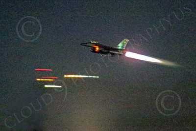 WWAN 00059 A Lockheed Martin F-16 Fighting Falcon takes off in afterburner at night military airplane picture by Peter J Mancus