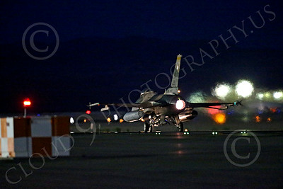 AB-F-16USAF 00029 An USAF Aggressor Lockheed F-16 Viper jet fighter in afterburner at night at Nellis AFB 7-2014 military airplane picture by Peter J Mancus