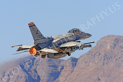 AB-F-16E 00006 Lockheed Martin F-16E Desert Falcon United Arab Emirates Air Force UAEF 003029 in afterburner at Nellis AFB by Peter J Mancus