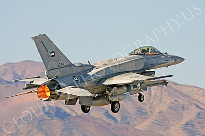AB-F-16E 00022 Lockheed Martin F-16E Desert Falcon United Arab Emirates Air Force UAEAF 3034 in afterburner at Nellis AFB by Carl E Porter