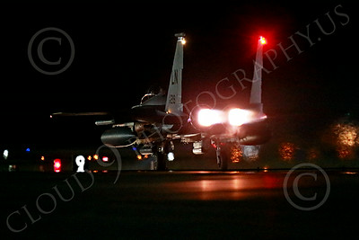 AB-F-15USAF 00143 A LN code USAF McDonnell Douglas F-15E Strike Eagle takes off in full afterburner for a night Red Flag mission at Nellis AFB 7-2014 military airplane picture by Peter J Mancus