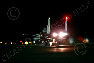 AB-F-15USAF 00021 A LN code USAF McDonnell Douglas F-15E Strike Eagle in full afterburner takes off for a night Red Flag mission at Nellis AFB 7-2014 military airplane picture by Peter J Mancus