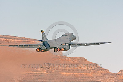 AB-B-1USAF 00002 A Rockwell B-1 Lancer USAF 37BS 86094 takes off in afterburner at Nellis AFB military airplane picture by Peter J Mancus