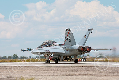 AB-F-18USN-S 00101 A Boeing F-18F Super Hornet jet fighter USN 166842 VFA-41 Black Aces CAG USS John C Stennis in afterburner take-off roll on runway at NAS Fallon 7-2014 military airplane picture by Peter J Mancus