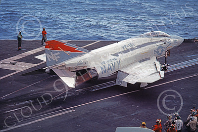 F-4USN 00076 A McDonnell Douglas F-4S Phantom II US Navy 155541 VF-161 CHARGERS on USS Midway 1983 AFTERBURNER military airplane picture by William Bradley