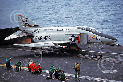 F-4USMC 00600 A McDonnell Douglas F-4N Phantom II USMC 150464 VMFA-323 DEATH RATTLERS AFTERBURNER on USS Coral Sea NK Aug 1979 by Pete Clayton