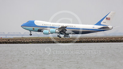 VC-25A 00013A USAF VC-25A, 28000, a Boeing 747-200B, aka Air Force One, touches down at SFO on 20 April 2011, military airplane picture, by Peter J Mancus