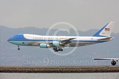 VC-25A 00009 A USAF VC-25A, 28000, a Boeing 747-200B, aka Air Force One, about to land at SFO on 20 April 2011 with President Obama on board, military airplane picture, by Peter J Mancus
