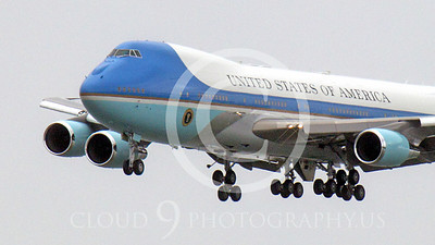 VC-25A 00003A Close up of the nose of a flying USAF VC-25A, 28000, a Boeing 747-200B, military aircraft picture, by Peter J Mancus