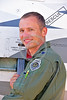 ACM 00437 Portrait of an Oregon Air National Guard F-15 Eagle jet fighter pilot on his jet's ladder at Reno Air Races 2016, by Peter J  Mancus