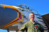 ACM 00422 Portrait of an Oregon Air National Guard F-15 Eagle jet fighter pilot standing near nose of his jet with special color scheme at Reno Air Races 2016, by Peter J  Mancus