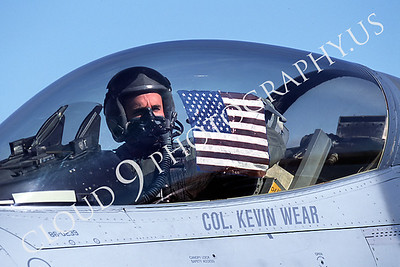ACM 00016 F-16 fighter  pilot with US flag by Peter J Mancus