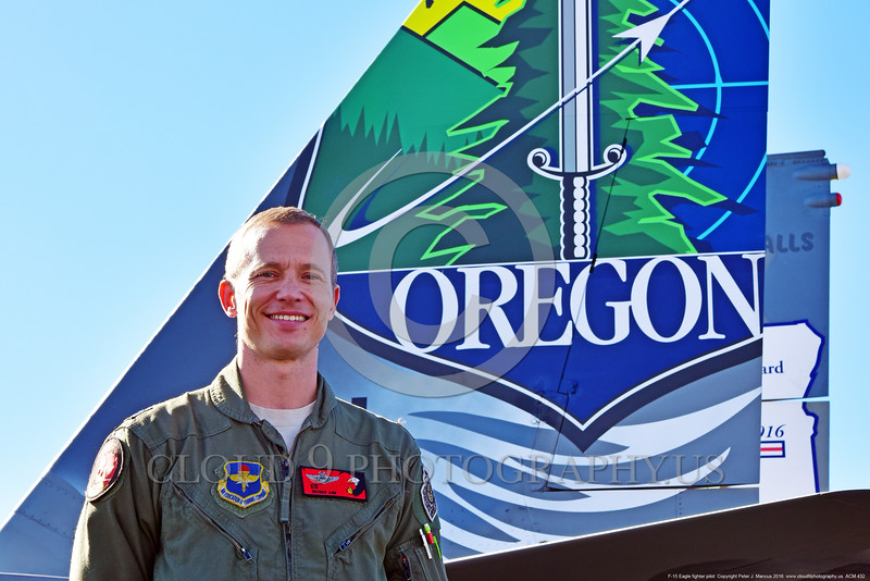 ACM 00432 Portrait of an Oregon Air National Guard F-15 Eagle jet fighter pilot before the colorful one-of-a-kind paint scheme on his jet's tail at Reno Air Races 2016, by Peter J  Mancus
