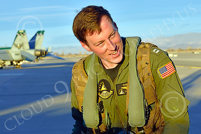 ACM 00416 Given the right circumstances this young US Navy F-18 Supher Hornet jet fighter pilot could make history, aircrew picture by Peter J Mancus