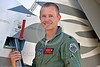 ACM 00420 Portrait of an Oregon Air National Guard F-15 Eagle jet fighter pilot on his jet's ladder at Reno Air Races 2016, by Peter J  Mancus