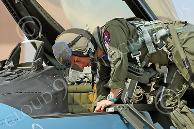 ACM 00407 One of only three USN F-16 fighter pilots deplanes from her ride at NAS Fallon military airplane picture by Peter J Mancus