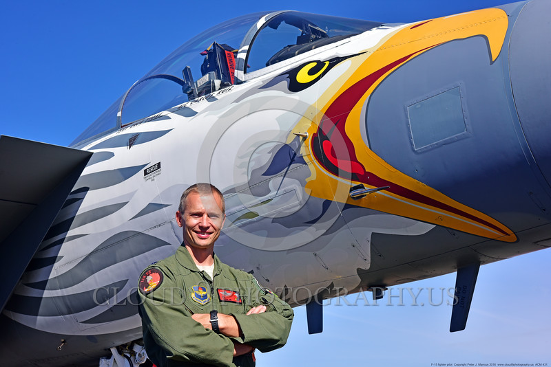 ACM 00431 Portrait of an Oregon Air National Guard F-15 Eagle jet fighter pilot by his jet's colorful eagle head nose at Reno Air Races 2016, by Peter J  Mancus