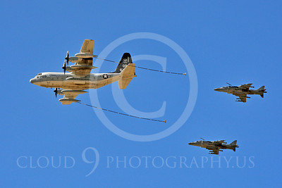 AAR 00105 A USMC Lockheed KC-130 Hercules and two USMC McDonnell Douglas AV-8B VSTOL jet attack aircraft prepare to aerial refuel airplane picture, by Peter J Mancus