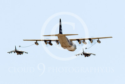 AAR 00110 A USMC Lockheed KC-130 Hercules and two USMC McDonnell Douglas AV-8B VSTOL jet attack aircraft prepare to aerial refuel airplane picture, by Peter J Mancus