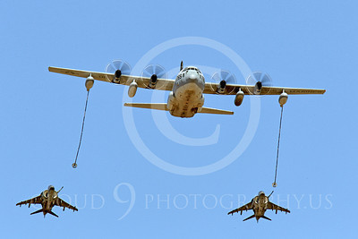 AAR 00108 A USMC Lockheed KC-130 Hercules and two USMC McDonnell Douglas AV-8B VSTOL jet attack aircraft prepare to aerial refuel airplane picture, by Peter J Mancus