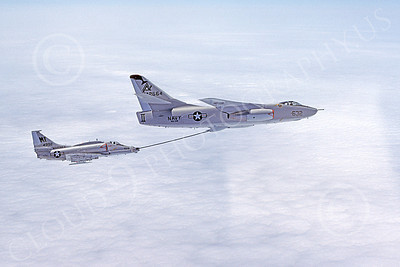 AAR 00052 A USN Douglas KA-3 Skywarrior VAQ-308 GRIFFINS refuels a USMC Douglas A-4 Skyhawk VMA-134 SMOKE military airplane picture by Ben Forbes