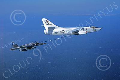 AAR 00051 A USN Douglas KA-3 Skywarrior refuels a Canadian Northrop F-5 Freedom Fighter military airplane picture by Ken Branner