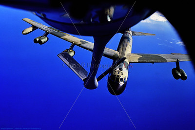 B-52D 006 A Boeing B-52D Stratofortress, USAF strategic long range bomber, in SE Asia Vietnam War color scheme, approaching a KC-135's flying boom for aerial refueling, 8-1980, military airplane picture by Stephen W  D  Wolf   EEE_9494   Dt
