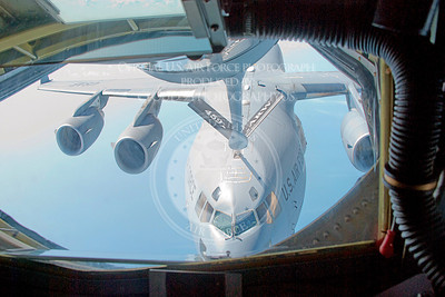 Members of the Air Force Reserve Command's 459th Air Refueling Wing refuel a C-17 Globemaster III Aug. 14 2010, over Joint Base Andrews, Md.  (U.S. Air Force photo/Senior Airman Amber Russell)