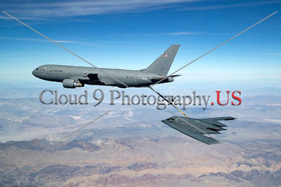 EDWARDS AIR FORCE BASE, Calif. --KC-46 refuels the B-2 for the first time during developmental flight test over Edwards AFB and the Sierra Nevada Mountains on Apr. 23, 2019. (U.S. Air Force photo by Christian Turner)