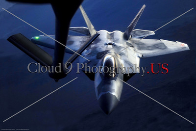 AR-F-22-USAF 001 A Lockheed Martin F-22 Raptor USAF stealth jet fighter doing aerial refueling at twilight, official USAF picture produced by Cloud 9 Photography     Dt