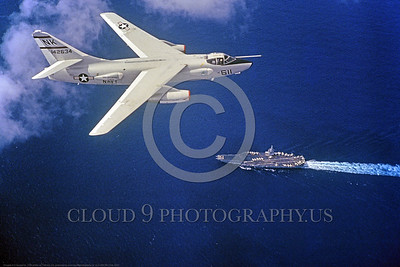 A-3-USN-NK Code 0002 A Douglas A-3 Skywarrior USN 142634 Cold War era carrier based modified bomber NK code USS Enterprise flying over an aircraft carrier, USN photo via Tailhook Col , produced by www cloud9photography us     DONEwt