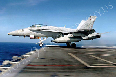 "040325-N-6213R-288 Pacific Ocean (Mar. 25, 2004) - An F/A-18C Hornet from the ""Stingers"" of Strike Fighter Squadron One One Three (VFA-113) launches from catapult number one onboard USS John C. Stennis (CVN 74).  Stennis and her embarked Carrier Air Wing Fourteen (CVW-14) are conducting Carrier Qualifications in preparation for the Joint Task Force Exercise (JTFX).  U.S. Navy photo by Photographer's Mate 3rd Class Mark J. Rebilas.  (RELEASED)"