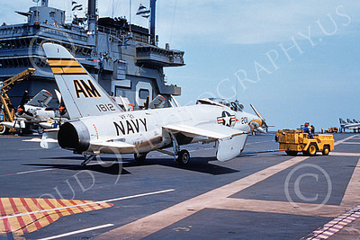 F11FUSN 00001 A static shark mouth Grumman F11F Tiger USN 141812 VF-21 FREELANCERS on USS Forrestal 12-1957 military airplane picture by Clay Jansson