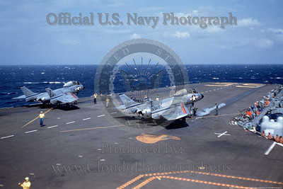 "ACCS-F7 002 Two Chance Vought F7U Cutlass USN jet fighters, unknown squadron, ""I"" tail code, on USS Forrestal, unknown date, official USN photography produced by Cloud 9 Photography   Dwt copy"