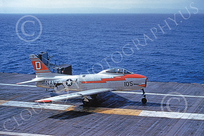 FJ Fury USN 00019 A USN North American FJ Fury on an aircraft carrier 5-1965 military airplane picture by Clay Janson