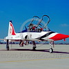 BIC-T-38USAF 00001 A static Northrop T-38 Talon USAF Thunderbirds bicentennial markings March AFB 6-1976 military airplane picture by Peter J Mancus