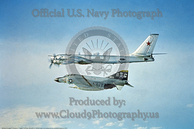 BI 001 A McDonnell Douglas F-4 Phanton II USN jet fighter VF-84 JOLLY ROGERS USS Independence intercepting a Soviet Tupolev Tu-95 Bear, USN photo via Tailhook Assoc  Col  prodced by www cloud9photography us     DONEwt