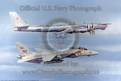 VF-114 Grumman F-14A Tomcat NH #114 off USS Enterprise (CVN-65) escorting a Soviet TU-95 Bear USN via Don JAy