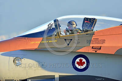 F-18Forg 00307 Portrait of the pilot of Canadian Armed Forces McDonnell Douglas CF-18 Hornet jet fighter 188761 with rare Battle of Britian color scheme, Capt Dennis Beaulieu, at 5-2015 Chino air show by Peter J Mancus