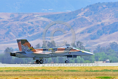 F-18Forg 00311 A taxing Canadian Armed Forces McDonnell Douglas CF-18 Hornet jet fighter 188761 with rare Battle of Britian color scheme military airplane picture at 5-2015 Chino air show by Peter J Mancus