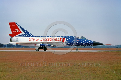 BIC-F-106ANG 00001 A taxing colorful Convair F-106A Delta Dart Florida Air National Guard 80760 bicentennial markings Jaxsonville 10-1976 military airplane picture by Peter J Mancus