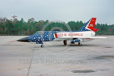 BIC-F-106ANG 00003 A static colorful Convair F-106A Delta Dart Florida Air National Guard 80760 bicentennial markings Jaxsonville 10-1976 military airplane picture by Peter J Mancus