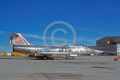 BIC-F-104USAF 00001 A static Lockheed TF-104G Starfighter USAF jet fighter bicentennial markings Luke AFB 1-1977 military airplane picture by Peter J Mancus
