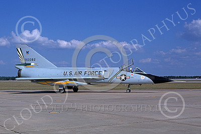 F-106AUSAF 00141 A taxing Convair F-106A Delta Dart USAF 90082 49th FIS CAVALIERS AND GREEN EAGLES BICENTENNIAL Tyndall AFB 1-1977 by L B Sides