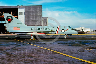 BIC-F-106USAF 00001 A static colorful Convair F-106 Delta Dart USAF 80776 Spirit of 76 interceptor bicentennial markings McCellan AFB 2-1976 military airplane picture by Peter B Lewis