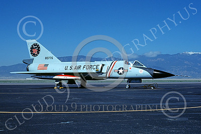 F-106AUSAF 00081 A static Convair F-106A Delta Dart USAF 80776 318th FIS GREEN DRAGONS FREEDOM BIRD BICENTENNIAL Colo Springs 5-1976 military airplane picture by John E Tudek